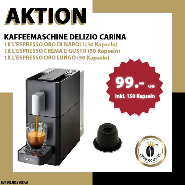 Aktion Delizio® Maschine + 150 Kapseln Delizio® kompatibel